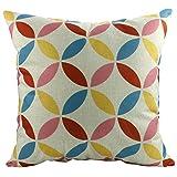 Luxbon Geometrische Muster Kissenbezug Lendenkissen Bettkissen Pillowcase Cover Haus Sofa Zimmer Auto Cafe Dekokissen 18 x 18 '' Bunt Rund