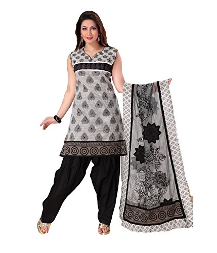 Idha - FREE Maybelline Colossal Kajal MRP 199 - Black-White Straight Fit Banaras Silk Printed Party Wear Readymade Salwar Suits | GC1070