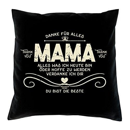 Deko Kissen mit Füllung :-: Größe: 40x40 cm :-: Danke Mama :-: Geschenkidee Mutter Geburtstagsgeschenk Farbe: schwarz -
