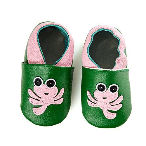 smileBaby Premium Leder Lauflernschuhe Krabbelschuhe Babyschuhe Grün Krake 18 bis 24 Monate