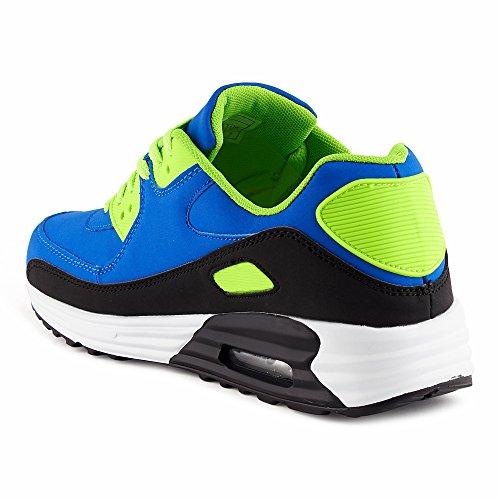 FiveSix Herren Damen Sneaker Sportschuhe Schnür Lauf Freizeit Fitness Dämpfung Low Top Unisex Schuhe Schwarz/Blau/Grün-M