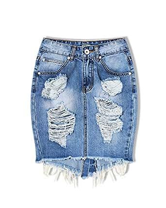 SaiDeng Gonna Di Jeans Minigonna Di Jeans Elasticizzato Con Elementi Effetto Destroyed Denim Blu 34