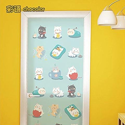 XI.W.H Cat Muster milchglas Folie statische Keine Kunststoff Bad Kindergarten Pet Shop Glas einfügen, elektrostatische Film - Breite 60 cm * Hohe 80 Cm