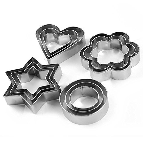 HOME CUBE® Cookie Cutter Stainless Steel Cookie Cutter With 4Shape, 12 Pieces