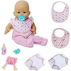 ZITA ELEMENT 9tlg Babypuppe Zubehör Set für 35-46 cm Puppen Lätzchen Windeln Babyflasche Schnuller Teller Gabel Löffel Geschenk Spielzeug für Kinder