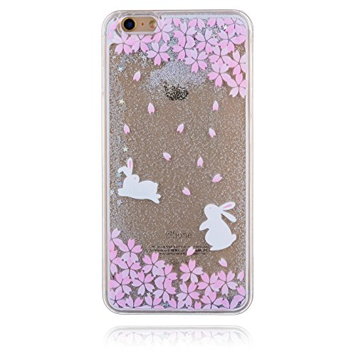 iPhone 5C Hülle,iPhone 5C Case,iPhone 5C Cove,3D Kreativ Muster Transparent Hard Case Cover Hülle Etui für iPhone 5C,EMAXELERS Cute Tier Cat Kaninchen Serie Bling Luxus Shiny Glitzer Treibsand Liquid  Animal Series 7