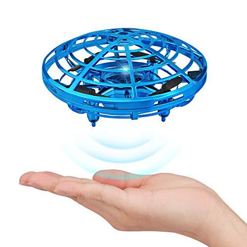 Baztoy UFO Mini Drohne, Kinderspielzeug Handgesteuerte Quadcopter Infrarot-Induktions-Fliegender Ball mit LED Fliegendes Spielzeug Geschenke für Jungen Mädchen Indoor Outdoor Flying Ball