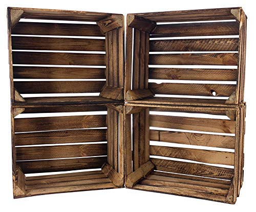 Kontorei® geflammte/gebrannte Obstkiste 50cm x 40cm x 30cm 4er Set Regal Kiste Apfelkiste Holzkiste Box