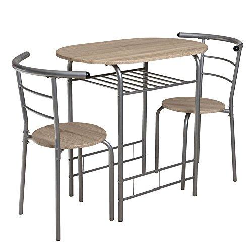 lifestyle4living Kleine Essgruppe,3-teilig, Sonoma Eiche, silber-grau, oval | Platzsparende Esstisch-/Tischgruppe (Set 1 Tisch & 2 Stühlen) ideal für kleine Küchen (Kleiner Set Esstisch)