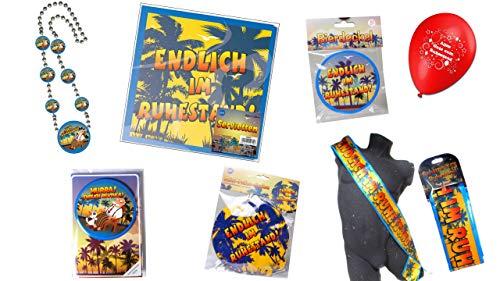 /Ruhestand: Ballons, Bierdeckel, Folienballon, Kette, Schärpe, Servietten, Verpackungsdeko ()