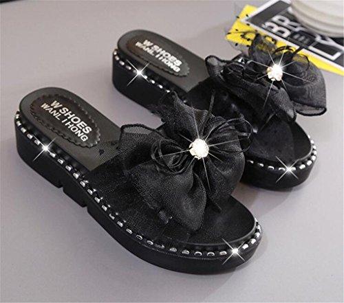 NEWZCERS Sandali in strass di strass femminile, pendenza della parola con sandali spessi della spiaggia di sabbia Nero