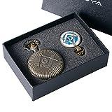 YISUYA Vintage Bronze Full Hunter, Freemasonry Masonic Gifts-Orologio da taschino, catenina da uomo con ciondolo a forma di bambino, confezione regalo