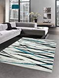Carpetia Designer Teppich Moderner Teppich Wohnzimmerteppich Kurzflor Teppich Streifen türkis schwarz Weiss Größe 120x170 cm