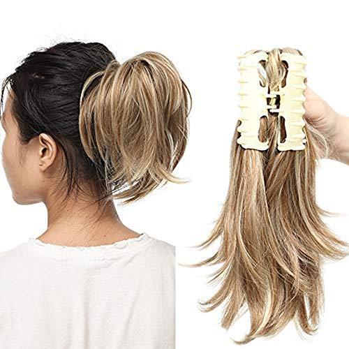 Ponytail Extension Haarteil Zopf Pferdeschwanz Haarverlängerung mit Butterfly-Klammer wie Echthaar Sandy Brown, um Blond zu bleichen-2 95g-12