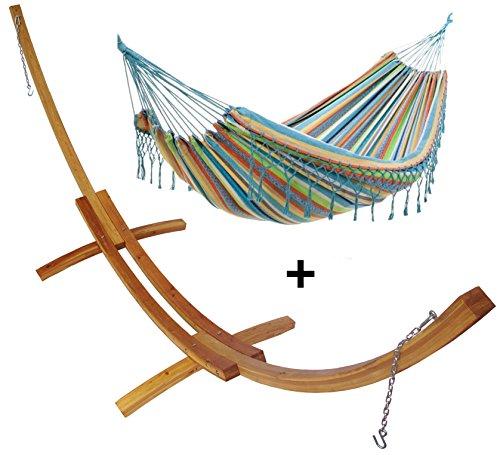 Support demi lune double bois mélèze et son hamac double à franges bleu motif, hamac détente