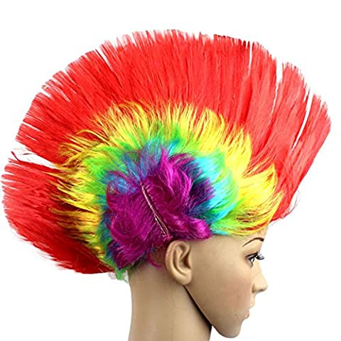 Perruques, Rawdah Masquerade Punk Mohawk Mohican Coiffure Cockscomb Perruque De Cheveux Pour Halloween (10.6