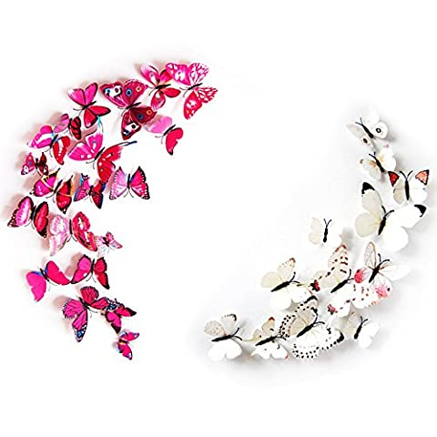 Lots de Stiker Papillons - YOKIRIN 24 EN 1 Lot Stickers Muraux de 3D Papillon Décoration de Frigo / de Mur Stickers Frigo Déco Cuisine avec Aimant de Fixation et Bâton de Colle Amovible Réutilisable - BLANC + ROSE PROFOND