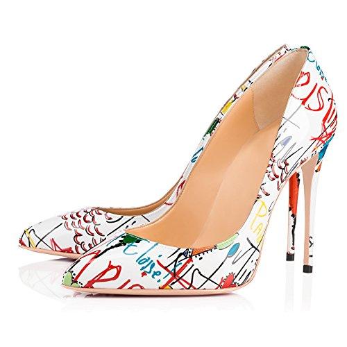 Onlymaker Women Pointed Toe Slip On Pumps Cobblestone Pattern Stiletto High Heel-White Graffiti-42 White High Heel-schuhe