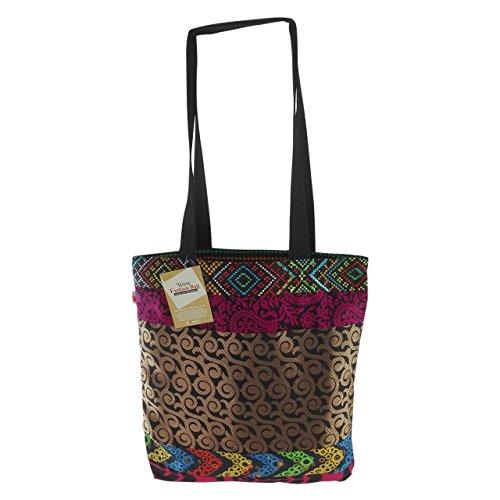 inhoma Wow Fashion Bag | Tasche im Tote Bag Stil | Black Gold | 45 x 40 cm | Farbecht | Mit Reißverschluss | Zwei Innentaschen | Jede Tasche ein Unikat (Tote Black Fashion Bag)