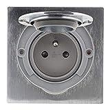 Bodensteckdose, 16 A, 2P+T, gebürstetes Aluminium, IP55, mit Installationsdose