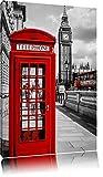 Klassische rote Telefonzelle London Format: 60x40 auf Leinwand, XXL riesige Bilder fertig gerahmt mit Keilrahmen, Kunstdruck auf Wandbild mit Rahmen, günstiger als Gemälde oder Ölbild, kein Poster oder Plakat