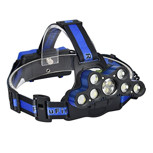 SUCES Stirnlampen Superheller Stirnlampe LED Kopflampen Kopfleuchten 45000 LM 9X XM-L T6 LED wiederaufladbare Scheinwerfer Scheinwerfer Travel Head Torch,Geeignet zum Angeln, Wandern, Camping (Blue)