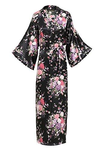 nmantel Maxi Lang Seide Satin Kimono Kleid Blütenkirsche Muster Kimono Bademantel Damen Lange Robe Blumen Schlafmantel Girl Pajama Party 135 cm Lang (Schwarz) (Schwarz Und Weiß Seide Blumen)