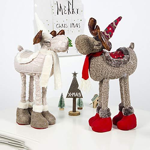 Handfly Décoration De Table De Noël en Peluche Rennes Poupée Ornement avec des Jambes Télescopiques Animal en Peluche Jouet De Noël Figurines Cadeau