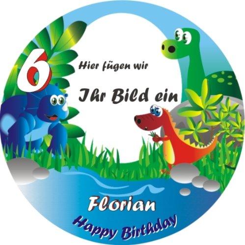 Fototorten-Aufleger rund für Mottoparty Dinosaurier +Vorname +Alter vom Geburtstagskind, die Überraschung zur Dinoparty, essbarer Tortenaufleger mit lustigen Dinos +Tortenschrift HAPPY BIRTHDAY