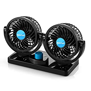 SUPAREE Electric Car Fan - 360° Rotatable Dual Blade 2 Speed 12 Volt DC Fan with 6FT Cord & 3M Stickers - Efficiently Blow Away Hot Air Smoke Smell & Bad Odors - for Sedan SUV RV Boat Auto Vehicles