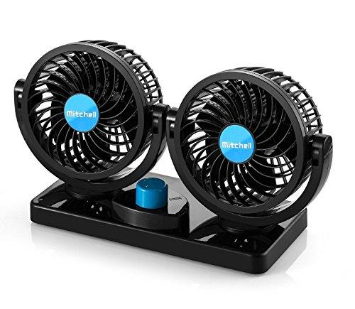 Ventilatore Doppio 12V, egolazione Libera 360 Rotating Dual Head Auto Car Raffreddamento Aria Ventilatore Potenti Tranquilla a 2 Ventole a Velocità Ruotabile Cruscotto
