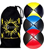 3x Palline da Giocoliere Pro - Set di 3 palline da giocoliere Deluxe (Cuoio / PU) + borsa per il trasporto. Nero con Rosso/Blu/Giallo.