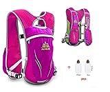 Chaleco/mochila Aonijie con sistema de hidratación para carreras, unisex, 5,5 L, incluye 2 botellas, hot pink