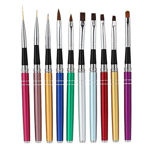 Anself Pro 10Pcs Nail Art Design Pinceaux à Stylo Set Polonaise Gel UV Nylon Peinture Outil Pinceau Nail Imprimer Kit Décoration