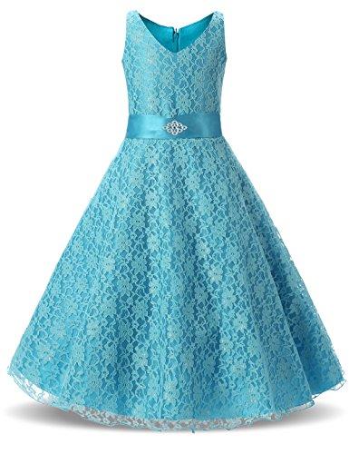 NNJXD Prinzessin Party Spitze V-Ausschnitt Blumenmädchen Kleid Größe(160) 13-14 Jahre Blau (13 Kleider Größe)