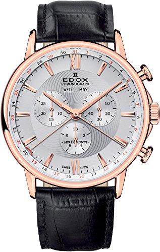 EDOX–Reloj de pulsera hombre Les bémonts Cronógrafo analógico de cuarzo calendario completo 1050137R AIR