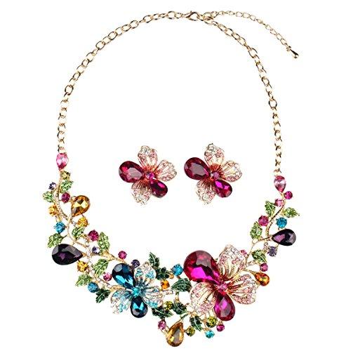 Hamer Damen Mehrfarbig Big Kristall Blumen Statement Choker Halskette und Ohrringe Sets für Frauen
