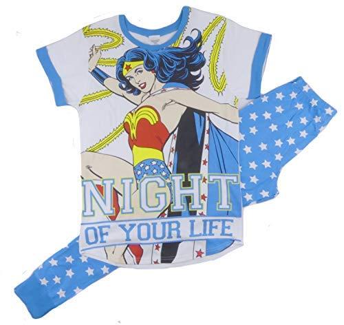 Damen 100% Offizieller Fanartikel 100% Cotton Kurzärmelig Rundhals 2 Stück Pj Pyjama Set Verschiedene Comic-Figuren - Wonder Woman Night of Your Life, Size 8-10 -