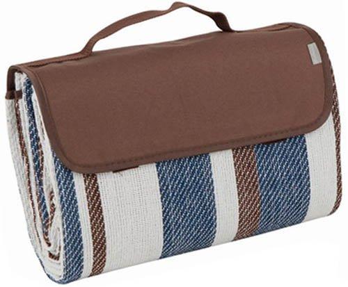 Brubaker Picknick Decke mit wasserfester PEVA Unterseite 175 x 135 cm - Creme Blau Braun Streifen