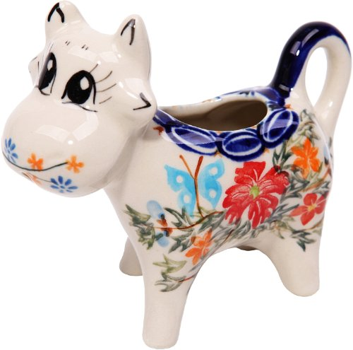 Polish Pottery Ceramika Boleslawiec, 0501/238, Creamer Cow, 1/3 Cup, Royal Blue Patterns with Red Cornflower and Blue Butterflies Motif - Cornflower Blue Cup