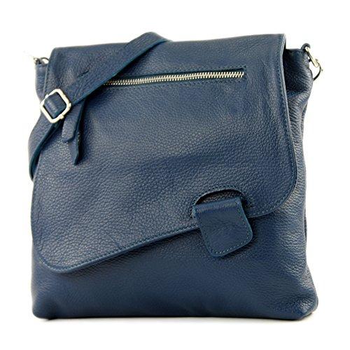 modamoda de - T146 - ital Messenger-/Umhängetasche aus Leder, Farbe:Saphirblau - Rindleder-umhängetasche Handtasche
