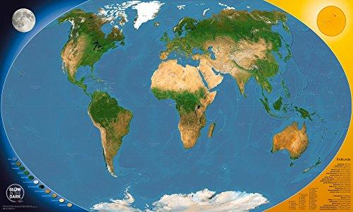 GLOW IN THE DARK Satellitenbild Weltkarte: für Kinder und Erwachsene - leuchtet im Dunkeln