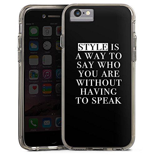 Apple iPhone X Bumper Hülle Bumper Case Glitzer Hülle Style Sayings Sprüche Bumper Case transparent grau