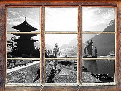 impressionnante rivière Asian temple Art B & W Fenêtre en 3D look, mur ou format vignette de la porte: 62x42cm, stickers muraux, sticker mural, décoration murale