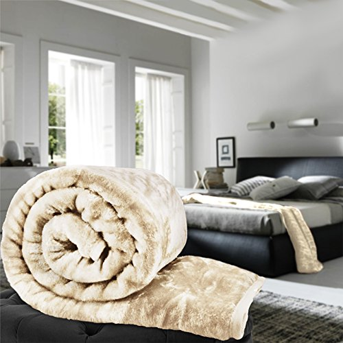 Luxus Kunstfell Nerz weichem warmem Fleece Decke Double King Single Sofa Bett Evelyn Living®, cremefarben, King Size Volle Gesteppte Tagesdecke