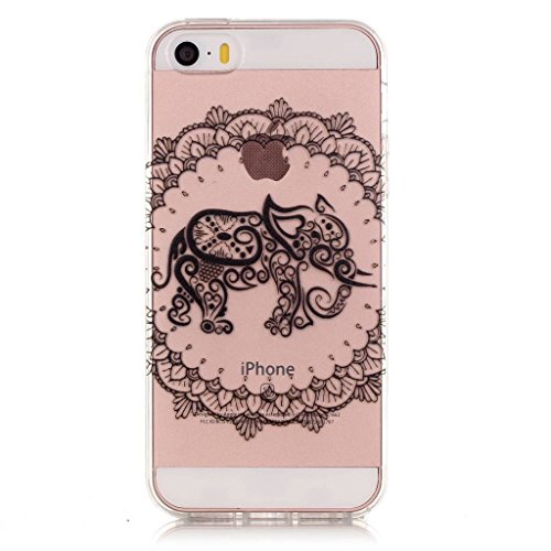 iPhone 5, iPhone 5S, iPhone se Coque en TPU £ ¬ w-pigcase coloré d'impression Perfect Fit Coque en gel silicone TPU Doux Transparent Coque pour Iphone 5/5s/SE éléphant