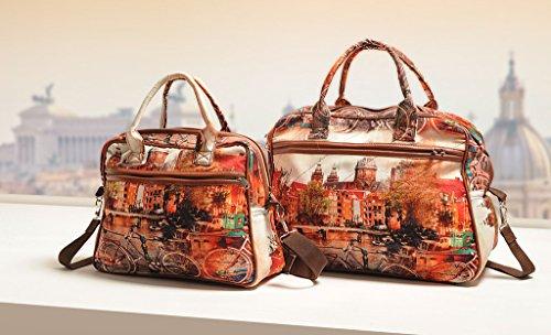 Yuga Printed Mode Schulter Handtaschen Designer-Frauen-Beutel mit Reißverschluss-Taschen Orange und Brown