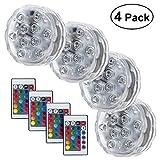 4 Stück Unterwasser Licht 10-LED RGB Multi Farbwechsel Wasserdichte Tauch LED Leuchten,...