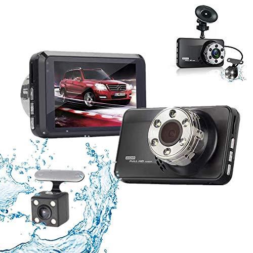 QYWSJ 1080P Full-HD-Autokamera, Vorder- Und Rückseite 1080P + 720P Dashboard-Kamera, Nachtsichtgerät 170 ° Weitwinkel, Loop-Aufnahme, Parküberwachung, Bewegungserkennung - Dual-nachtsichtgerät
