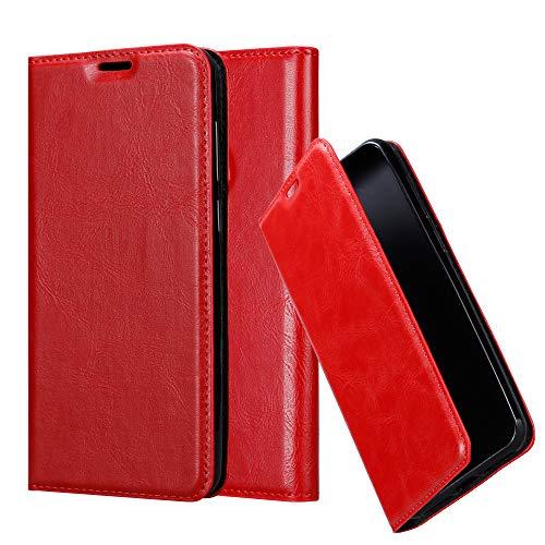 Cadorabo Hülle für WIKO View 2 Plus - Hülle in Apfel ROT - Handyhülle mit Magnetverschluss, Standfunktion & Kartenfach - Case Cover Schutzhülle Etui Tasche Book Klapp Style